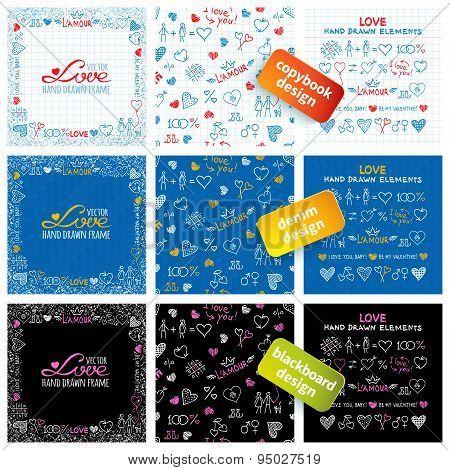Big set of hand drawn love elements