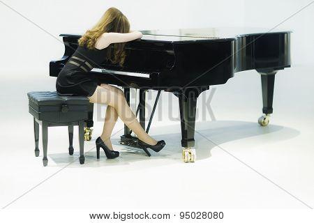 Elegant Lady And Grand Piano