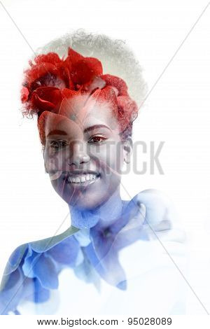 Double Exposure Black Woman And Flowers
