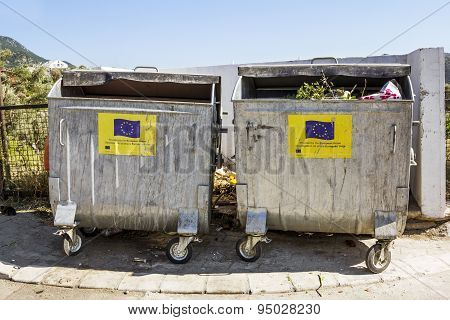 Garbage Bins With The Symbols Of The European Union