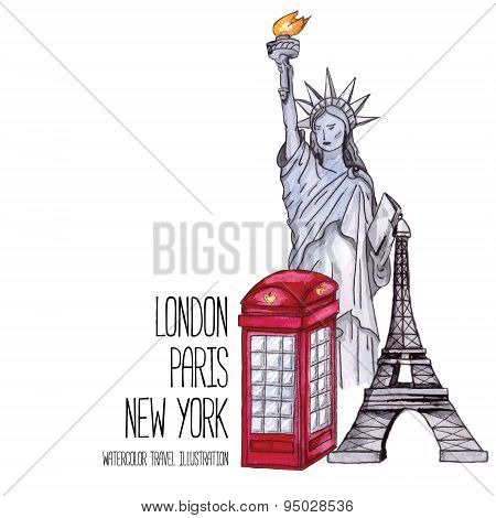 London red telephone box, Statue of Liberty and the Eiffel Tower. Watercolor illustration
