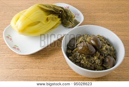 Chopped Pickled Green Cabbage With Pickled Cabbage