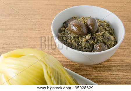 Chopped Pickled Green Cabbage With Chinese Olives