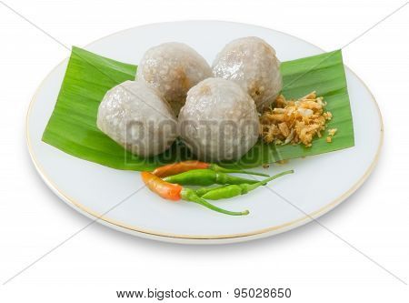 Thai Tapioca Balls With Minced Pork On White Bakground
