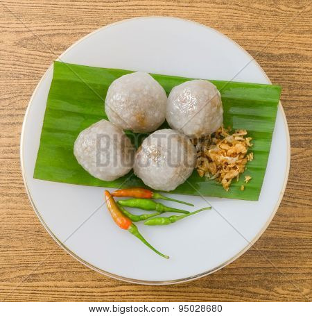 Thai Steamed Tapioca Balls Filled With Minced Pork