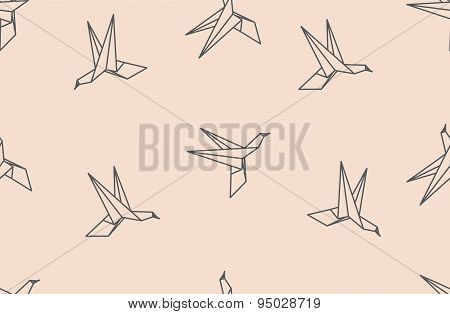 Origami Bird Seamless Pattern