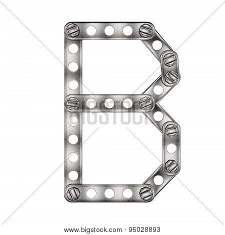 Letter B made from metal constructor. Isolated 3d.