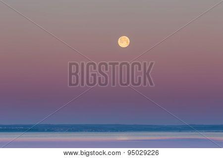 Moon Setting Over Gdanska Bay In Poland