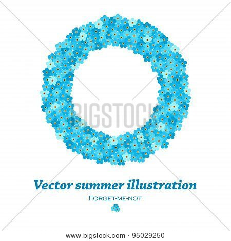 vector round frame with forget-me-not flowers