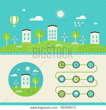 Eco Town and Eco Living Landscape and Infographics Elements