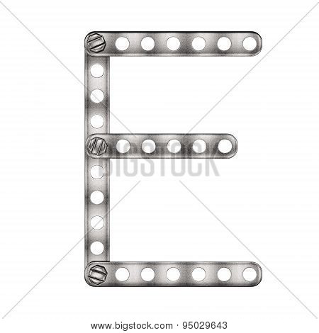 Letter Emade from metal constructor. Isolated 3d.