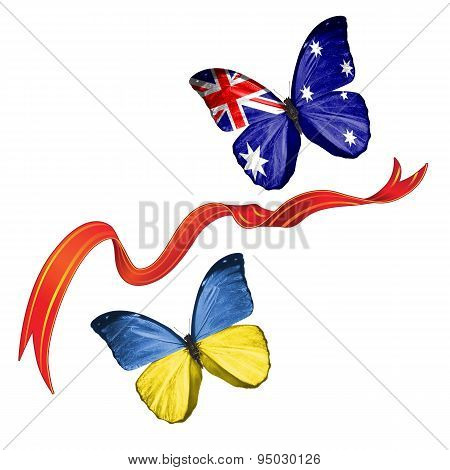 Two butterflies with symbols of Ukraine and Australian Antarctic Territory