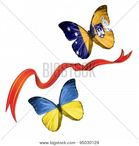 Two butterflies with symbols of Ukraine and Australian Capital Territory
