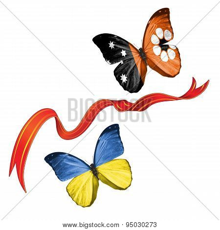 Two butterflies with symbols of Ukraine and Northern Territory