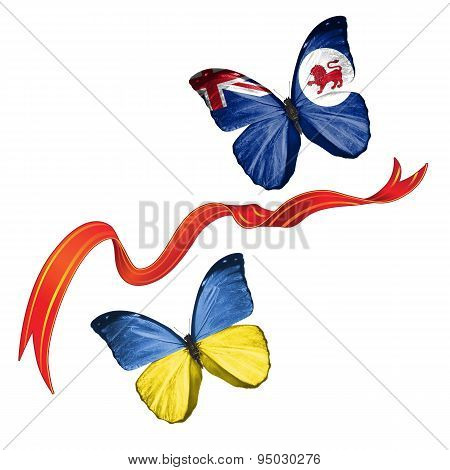 Two butterflies with symbols of Ukraine and Tasmania