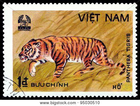 Vintage  Postage Stamp.  Tiger. Vietnam.