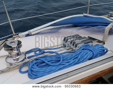 A detail of a sailing boat