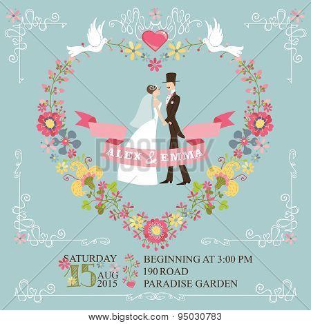 Retro wedding invitation.Bride, groom,floral wreath,borders