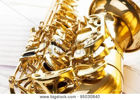 Shiny golden bell and keys of alto saxophone