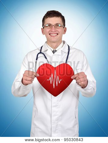 Doctor Holding Heart With Pulse