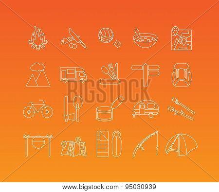 Camping vector icons set