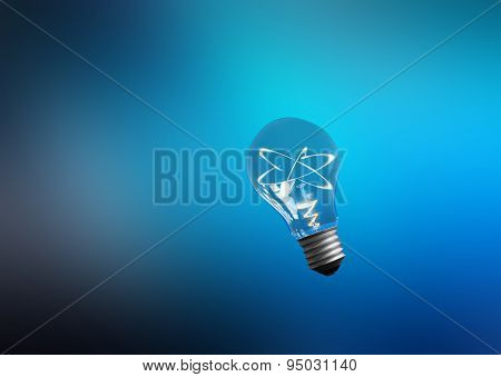 Explosion of ideas. Lamps with atoms. Colour background. Path included.