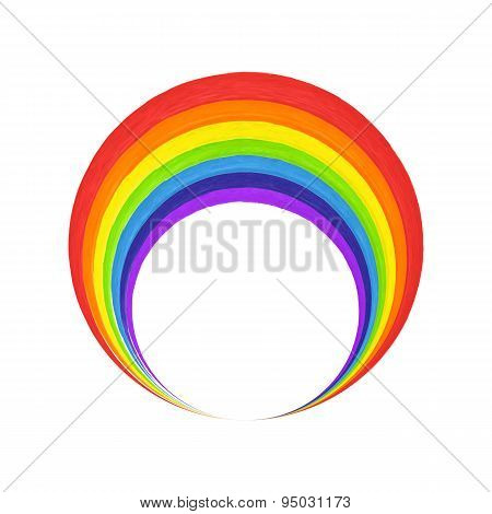 Rainbow Circle  Logo Template. Rainbow Emblem Symbol. Watercolor Brush Strokes.vector Illustration