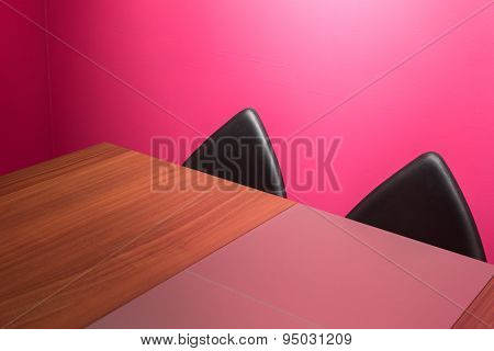 Abstract Wall, Chairs & Desk