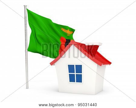 House With Flag Of Zambia