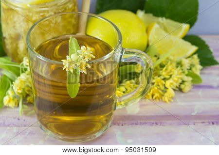 Linden Tea With Lemon Decorated With Lime Flower