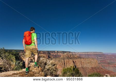 Man with backpack in Grand Canyon National Park
