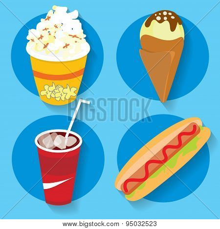 Set of icons fast food popcorn ice cream cola hot dog