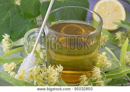 Linden Tea With Sugar Stick, Lemon And Lime Flowers