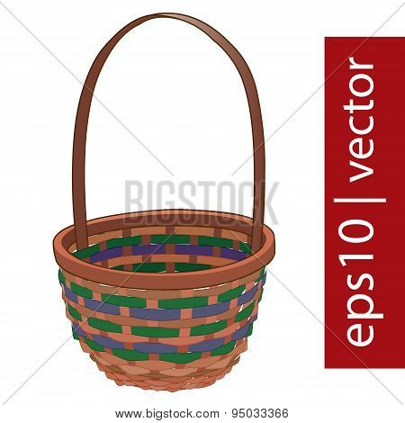 Brown vector Easter wicker basket handmade