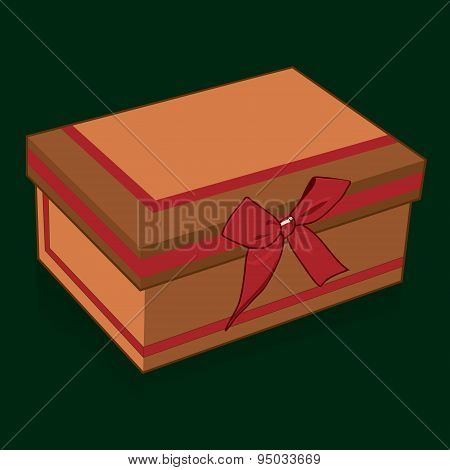 Handsome gift box with a bow on a green background