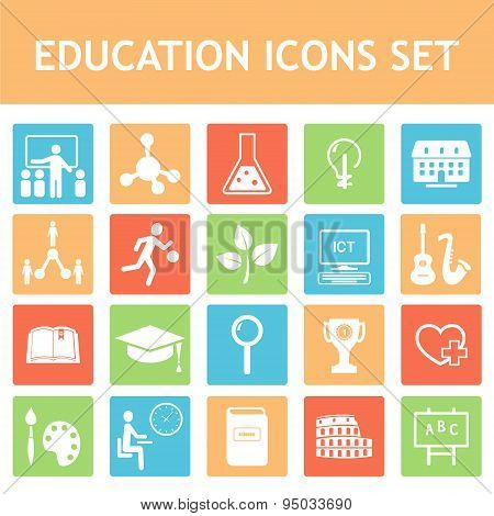 School, Education, Curriculum Vector Icons Set