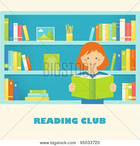 Girl Reading a Book against Library Shelves