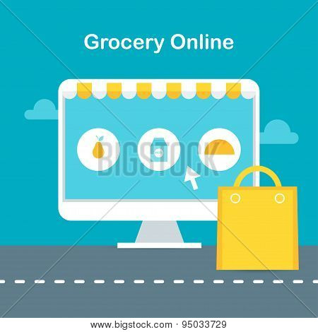 Online Grocery Store Website Page. E-commerce and Online Shopping Concept