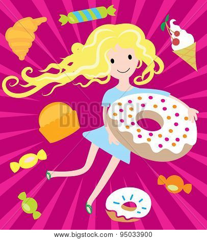 Girl dreams with big donut and tasty sweets