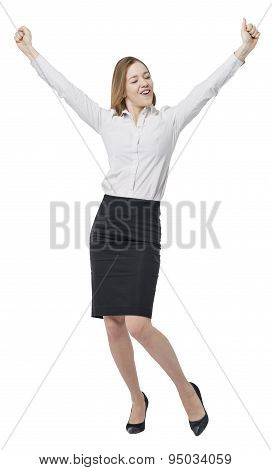Full Length Of The Business Lady, Hands Up. A Concept Of The Success In A Corporate Game. Isolated.