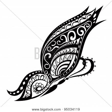 Butterfly With Ornaments In Polynesian Style