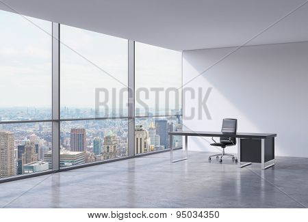 A Workplace In A Modern Corner Panoramic Office In New York, Manhattan. A Black Leather Chair And A