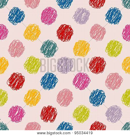 Scribbled Dots Color Pattern Background