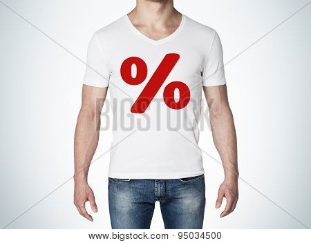 Close Up Of The Body View Of The Man In A White T-shirt With The Red Percentage Sign On The Chest. C