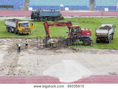 Bulgarian National Stadium Renovation Workers