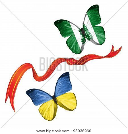 Two butterflies with symbols of Ukraine and Norfolk (Island)