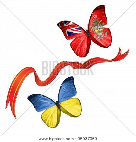 Two butterflies with symbols of Ukraine and Ashmore and Cartier Islands