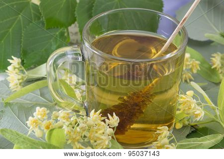 Lime Tea With Sugar Stick, Lemon And Lime Flowers