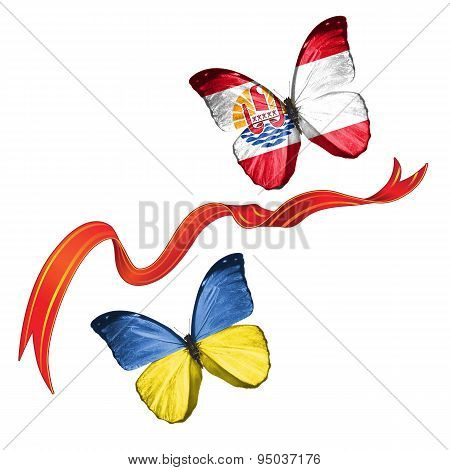 Two butterflies with symbols of Ukraine and French Polynesia