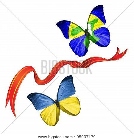 Two butterflies with symbols of Ukraine and Chatham (Archipelago)